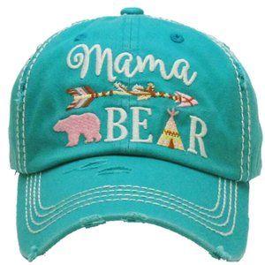 Mama Bear Turquoise Distressed Adjustable Hat